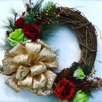 Christmas Winter Wreath -  Winter Wreath, Wintertime Floral, Wreath Decor, Winter Floral, Pine and Grapevine Christmas Wreath