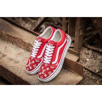 Vans x Supreme x Louis Old Skool Red Casual Sport Shoes Sneakers Red I