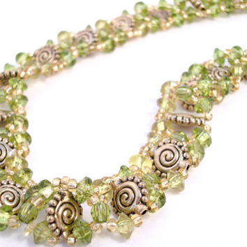 Bead Woven Necklace Olive Green and Gold by colorsoulartistry