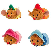 Disney - Cinderella ''Tsum Tsum'' Mini Plush Collection - Set of 4 Mices Gus, Jaq, Perla and Suzy - NEW