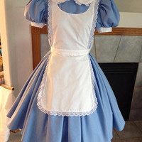 Blue Alice in Wonderland Dress Pinafore Adult Custom Size  Eyelet