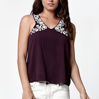 LA Hearts Embroidered Goddess Neck Tank Top - Womens Shirts