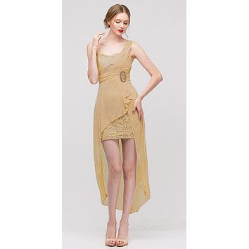 Spaghetti Strapped Short Chiffon Gold Sheath Semi Formal Dress