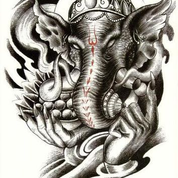 Elephant Buddha Temporary Tattoo - Large Black Tattoo