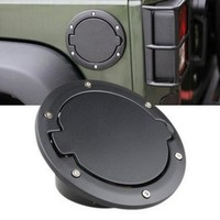 Aluminum Spray Black ABS Gas Tank Cover Fuel Filler Door Cover Cap Accessories Fit for Jeep Wrangler JK 2007-2015