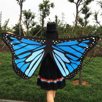 7 Colors US Pareo Colorful Soft Fabric 3D Butterfly Wings Fairy Lady Nymph Pixie Costume Accessory 2017 New Arrive Cover up