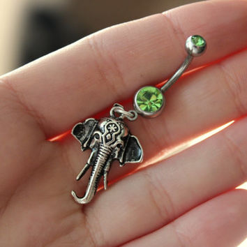 Bohemian Elephant Belly Navel Ring - Choose Your Color! Elephant Head Belly Ring, Elephant Body Jewelry, Boho Elephant Navel Ring