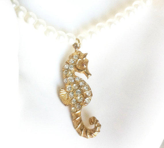 Seahorse and Pearls Summer Chic Bracelet by EridaneasBoutique