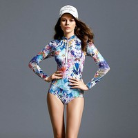 2017 Women Long Sleeve Swimwear Print Surfing Bathing Suits Sexy One Piece Sport Swimsuit Female Beach Clothes Rashguard