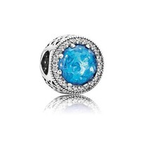 PANDORA Radiant Hearts Charm, Sky-Blue Crystal & Clear Cubic Zirconia