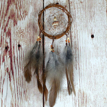 Car Dreamcatcher, Small Dream Catcher, Seashell, Wall Hanging, Car Ornament, Boho Decor, Car Dream Catcher
