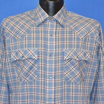 80s Levi's Blue and Brown Plaid Pearl Snap Western Shirt Medium