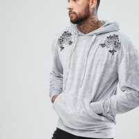 boohooMAN Velour Hoodie With Embroidery In Grey at asos.com