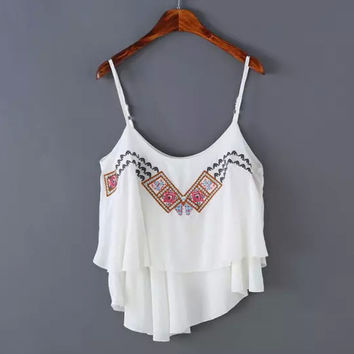 Bralette Comfortable Beach Sexy Hot Summer Women's Fashion Stylish Slim Spaghetti Strap Embroidery Chiffon Tops Vest [4920541508]