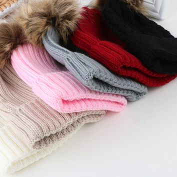 1 Pcs New Fashion Women Kids Girls Boys Warm Hat Winter Beanie Double Ball Earflap Knitted Cap