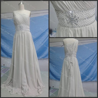 One shoulder sleeveless chapel train chiffon evening dress with pearls sashes