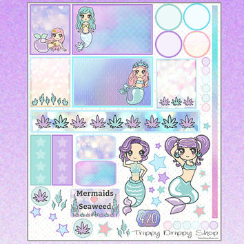Cannabis Kawaii Mermaid Stickers - Planner Stickers - Marijuana Mermaid Planner Stickers