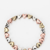 Metal Hearts Stretch Bracelet