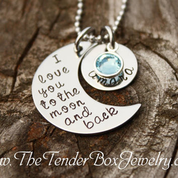 personalized necklace I love you to the moon and back hand stamped moon and name pendant necklace.
