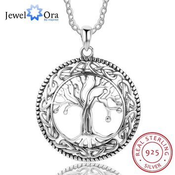 Tree of Life Large Pendant Necklace Jewelry 925 Sterling Silver Necklaces & Pendants For Women Best Gift (JewelOra NE101908)