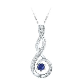 Sterling Silver Women's Round Lab-Created Blue Sapphire Solitaire Diamond Pendant 1-4 Cttw - FREE Shipping (US/CAN)