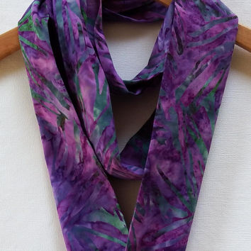 "Purple Abstract Infinity Scarf, 4"" Wide 72"" Loop, Batik Infinity Scarf, Purple Infinity Scarves, Cotton Infinity Scarf, Abstract Scarves"