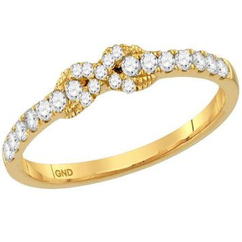10kt Yellow Gold Women's Round Diamond Infinity Knot Stackable Band Ring 1/4 Cttw - FREE Shipping (US/CAN)