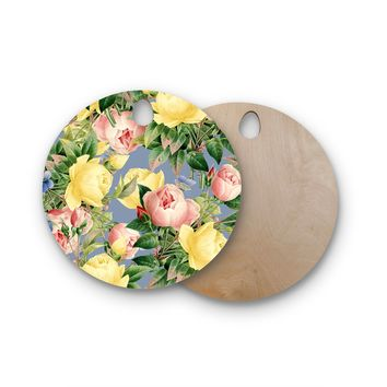 "83 Oranges ""Island Dreams"" Blue Pink Illustration Round Wooden Cutting Board"