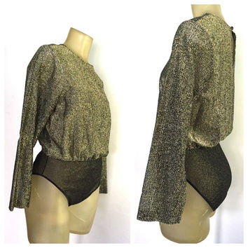Gold Lame Blouse Bodysuit, vintage Victorias Secret Disco 70s Long Sleeve Gold Blouse Sparkle Disco Party Studio 54 Business 70s Bodysuit M