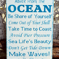 Advice Ocean Sign Beach Rustic Wood Signs Summer Decorations Coastal Cottage House Home Nautical Wall Art