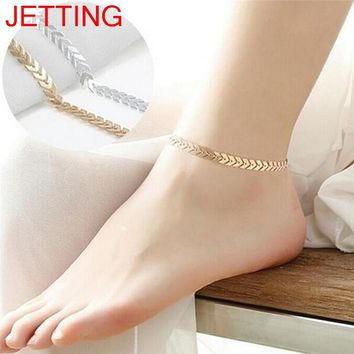 JETTING 1Pc 25cm Women Gold Silver Arrow Ankle Chain Anklet Bracelet Barefoot Foot Jewelry Beach Accessories