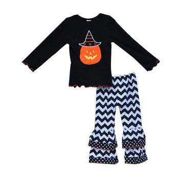 New Arrival Kids Halloween Costume Hat Pumpkin Pattern Sleeve Tops Chevron Ruffle Pants Toddler Girl Clothes Sets H004