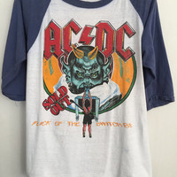 ACDC shirt 1983 vintage t shirt band t-shirts raglan tee rock tshirt 80s band shirts 80s clothing 666 Devil shirt satan baseball tees medium