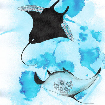"Oceanic Ink series ""Manta Rays"" print, Ink and pen, Limited Edition Prints"