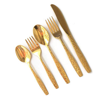 Gold Flatware Americana Golden, Gold Plated Flatware, Gold Forks, Gold Knives, Gold Tea Spoons, Golden Scroll, Gold Plated Cutlery