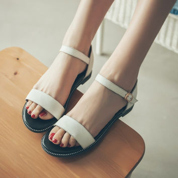 Ankle Straps Genuine Leather Flats Sandals 7456