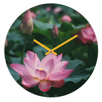 Catherine McDonald Lotus Field Round Clock