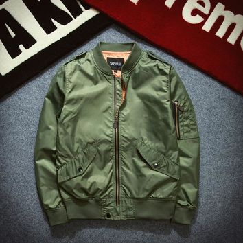 men thin Jacket Puffer Style Thick Army Green Military Flying Ma-1 Flight Jacket Pilot Ma1 Air Force Men Bomber Jacket