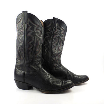 Vintage Cowboy Boots 1980s Black Panhandle Slim tall  Western Cowgirl men's 9 1/2 D
