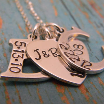 Large Solid Sterling Silver 2, Two Letter Initial With Heart Custom Hand Stamped Personalized Mother Necklace with Birthdate, Mommy Necklace