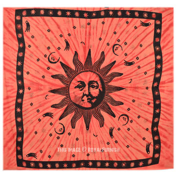 Psychedelic Sun and Moon Hippie Tie Dye Tapestry Wall Hanging Bedding Throw on RoyalFurnish.com