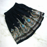 Black Mini Skirt: Bohemain Skirt, Short Flowy Boho Indian Gypsy Skirt, Floral Cover Up with Turquoise Flowers