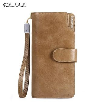 Genuine Leather Wallet Men New Male Wallet Long Leather Wallet Purse Coin Purse Men Purse Male Clutch For IPhone 7Plus