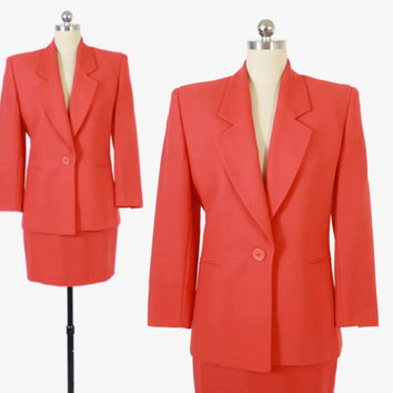 Vintage 90s CORAL SUIT / 1990s FERRE Pink Mini Skirt Blazer Jacket Set S