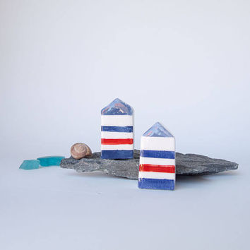 Modern Summer Striped Ceramic Houses set of two, Handmade clay houses in White  Red and Blue, Geometrical Summer home decor
