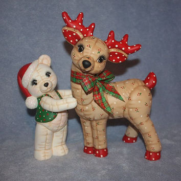 Ceramic Christmas Reindeer and Holiday Bear softy painted to look stuffed.