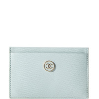 Vintage Chanel Powder Blue Card Holder From What Goes Around Comes Around by Vintage Chanel from What Goes Around Comes Around - Moda Operandi