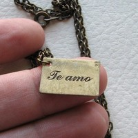 te amo spanish i love you necklace by friendlygesture on Etsy