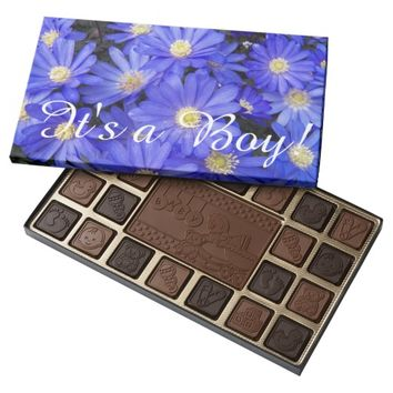 Baby Boy Announcement Blue Flowers 45 Piece Box Of Chocolates