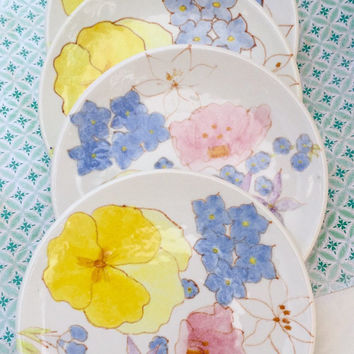 Very Rare Vintage Ernestine Salerno Set of 5 Desert Plates Made in Italy / Hand Painted / Floral China